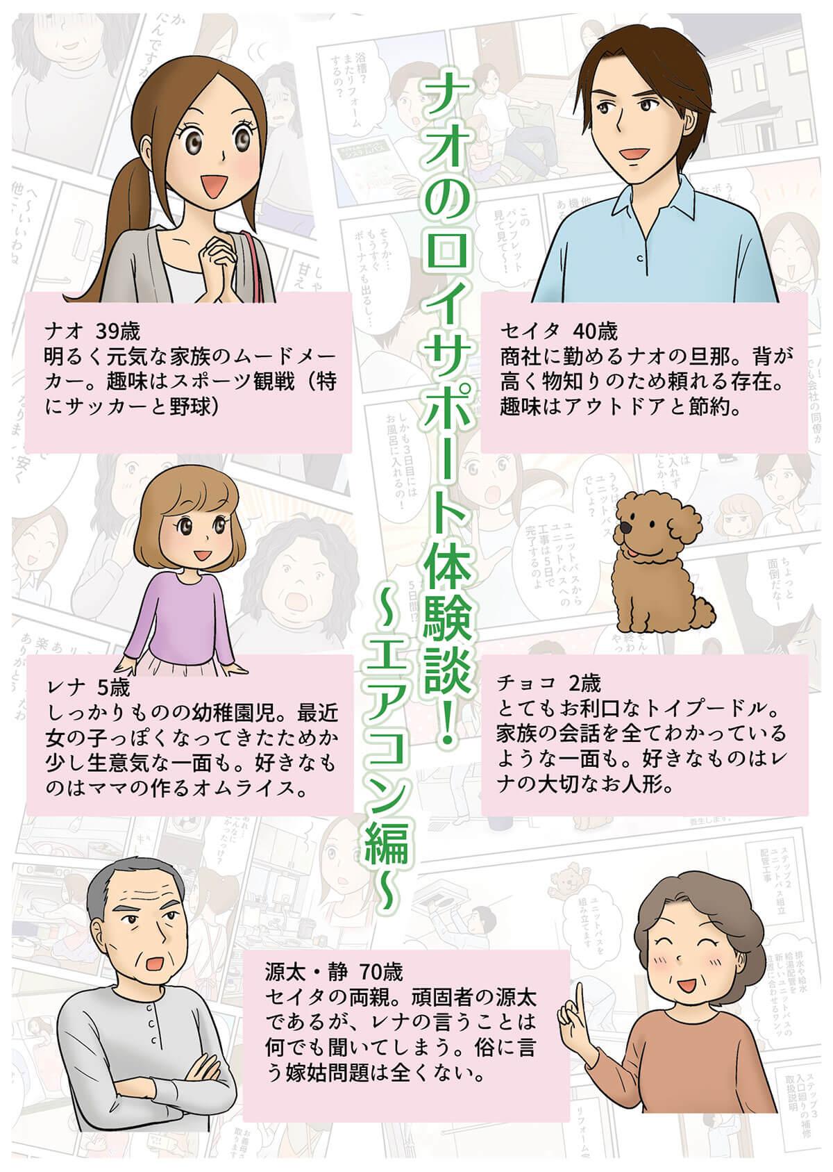 ナオのロイサポート体験談(エアコン編)表紙とキャラクター紹介